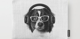 cute dog, headphones, eyeglasses, carry-all pouch, Revolution Australia, Aussie design, minimalist, canvas pouch, quirky design