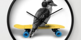 Kookaburra, Headphones, Skateboard, Revolution Australia, wall clock, Aussie design, minimalist, home decor, clock