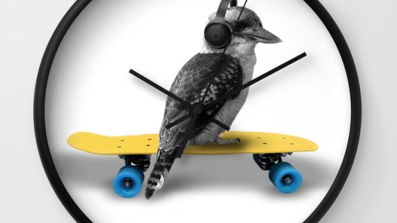 Kookaburra, Headphones, Skateboard, Revolution Australia, wall clock, Aussie design, minimalist, home decor, clock